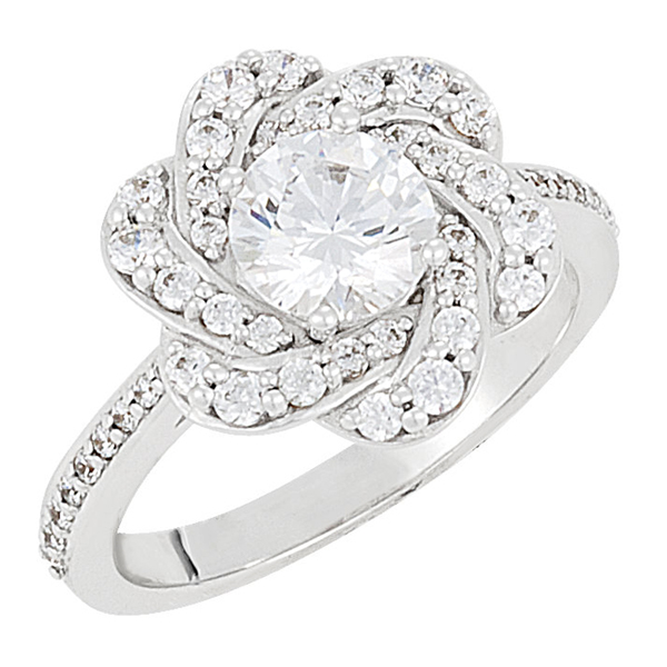 Flower Diamond Engagement Ring  photo
