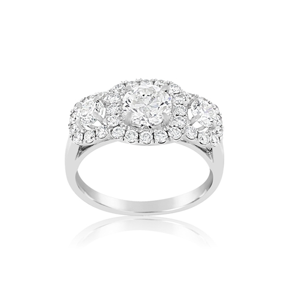 FOREVERMARK Center of My Universe Three-Stone Halo Diamond Ring photo