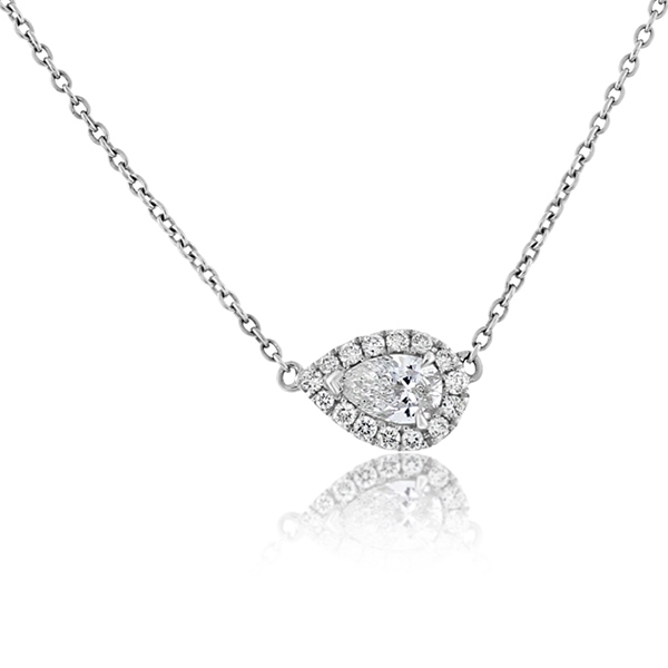 FOREVERMARK Pear Halo Necklace photo