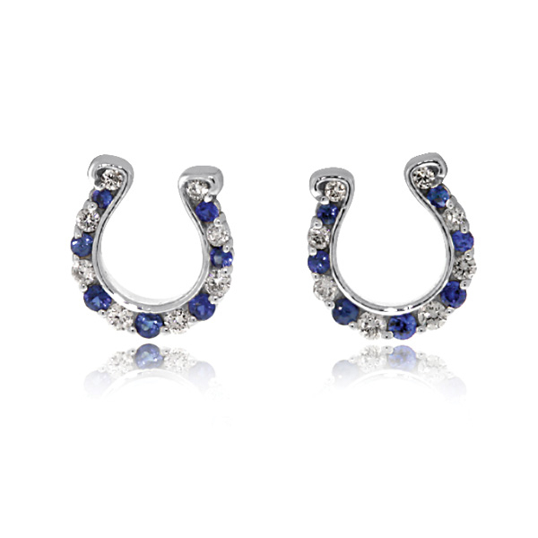 GO BLUE Sapphire and Diamond Horseshoe Earrings photo