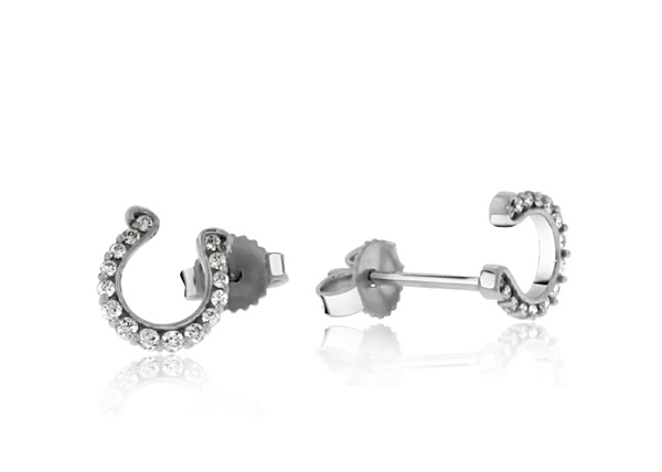 GO BLUE Small Diamond Horseshoe Earrings photo