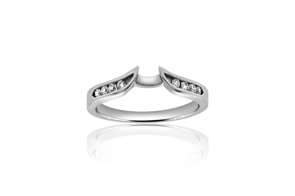 Gold Diamond Channel Shadow Wedding Band photo