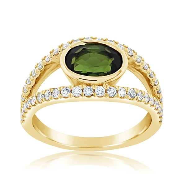 Green Tourmaline & Diamond Ring photo