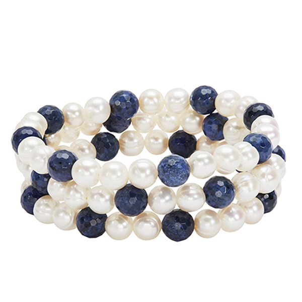 HONORA Set of Three Pearl & Dumortierite Bead Bracelets photo