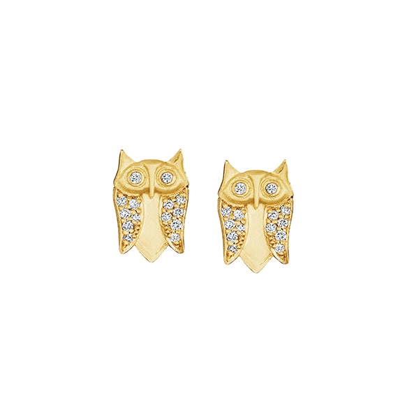 Jade Trau Diamond Owl Stud Earrings Reis Nichols Jewelers