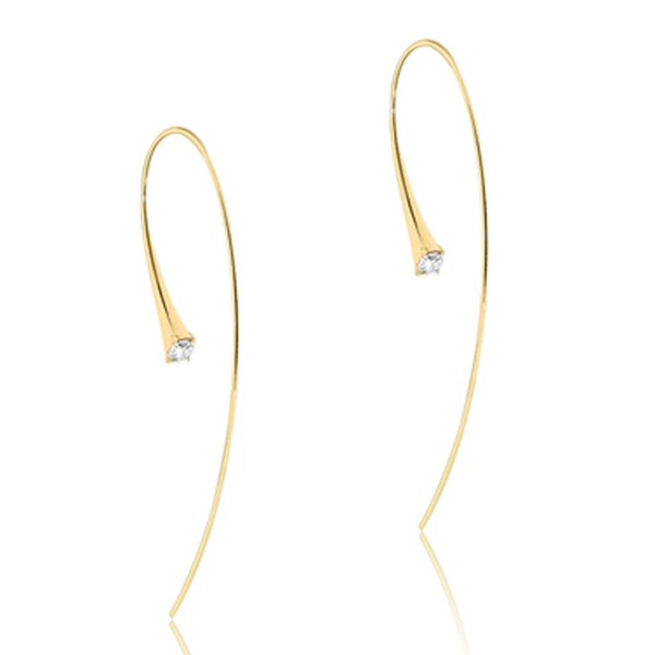 JADE TRAU Fluted Diamond Upside Down Hoop Earrings photo