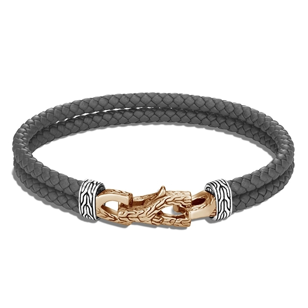 JOHN HARDY Asli Classic Chain Double Row Grey Leather Bracelet photo