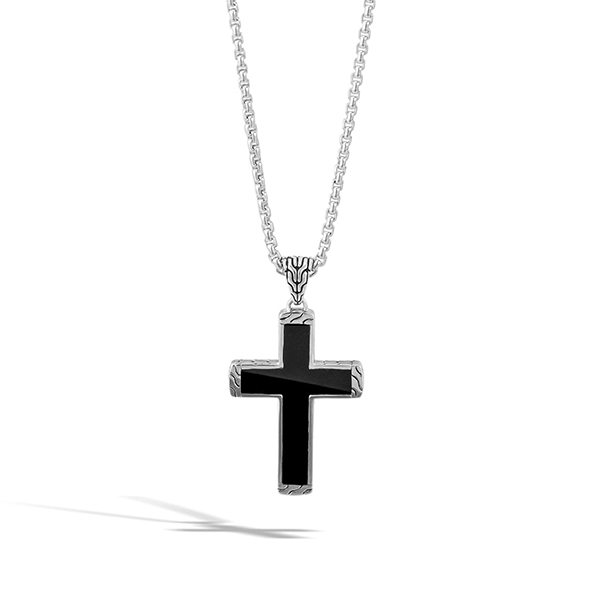 JOHN HARDY Classic Chain Black Jade Cross Necklace photo