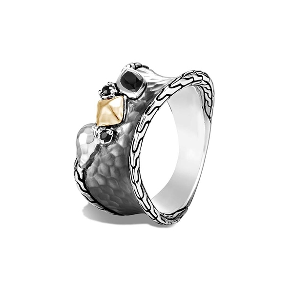 JOHN HARDY Classic Chain Blackened Ring with Black Sapphire & Spinel photo