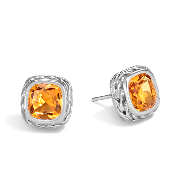 John Hardy Clic Chain Citrine Stud Earrings