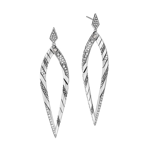 JOHN HARDY Lahar Diamond Long Drop Earrings photo