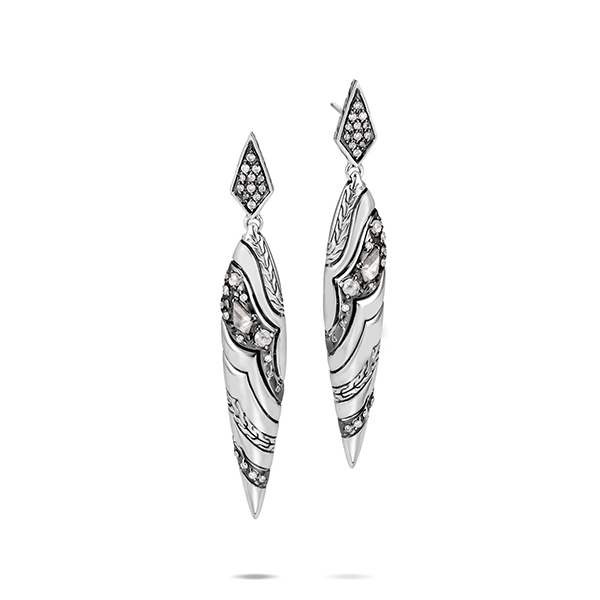 JOHN HARDY Lahar Marquis Drop Earrings with Diamonds photo