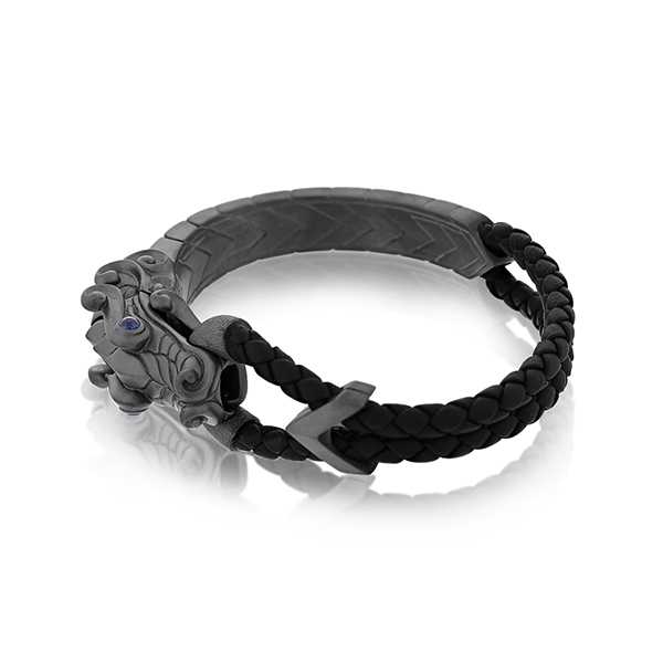 JOHN HARDY Legends Naga Black Leather Bracelet photo
