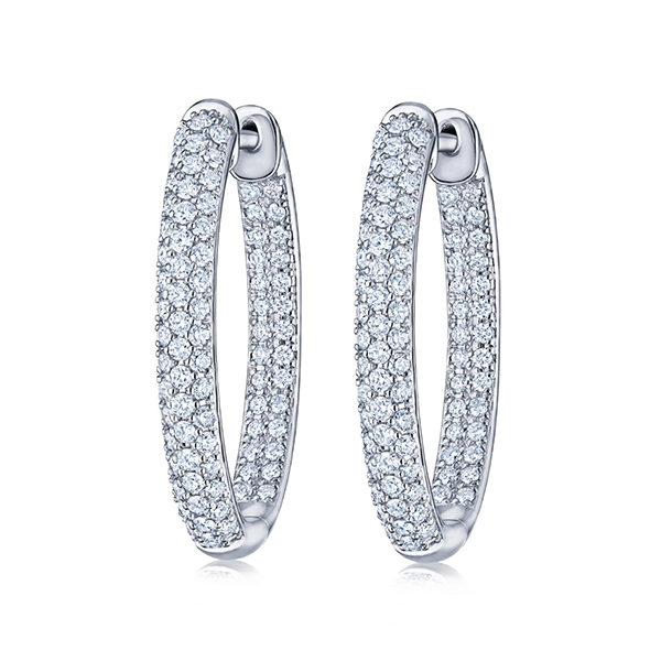 KWIAT Moonlight Petite Pave Oval Hoops photo