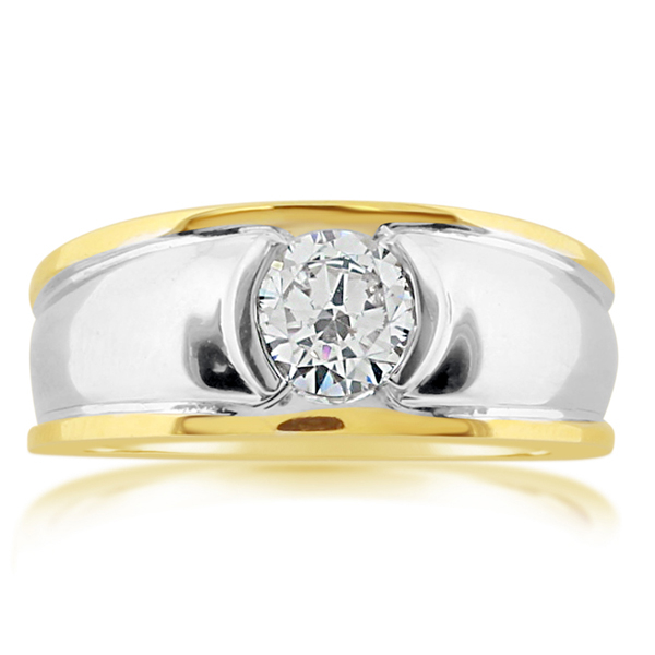 Men's Two Tone Diamond Wedding Band photo
