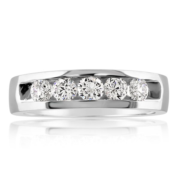 Men's White Gold & Diamond Wedding Band photo