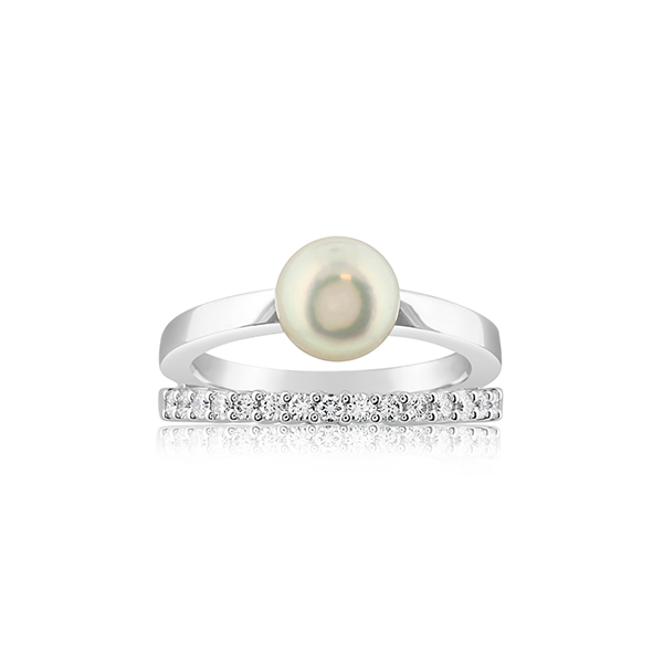 MIKIMOTO Akoya Pearl & Diamond Ring photo