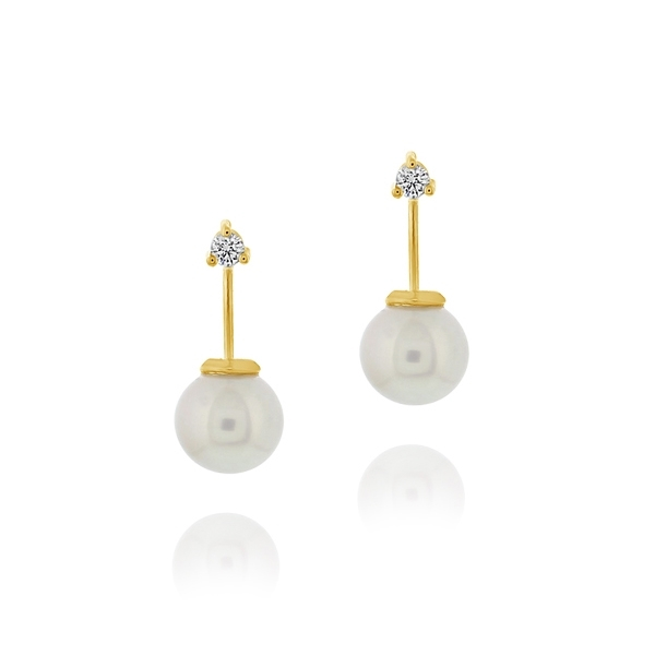 MIZUKI Diamond Horizon & Freshwater Pearl Earrings photo
