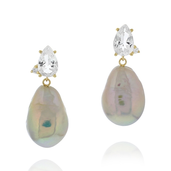 MIZUKI Topaz, Diamond, & Pearl Earrings photo