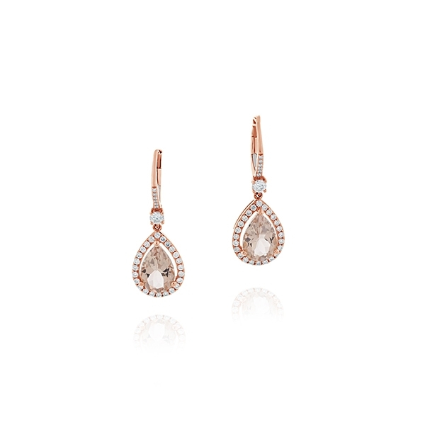 Morganite & Diamond Drop Earrings photo
