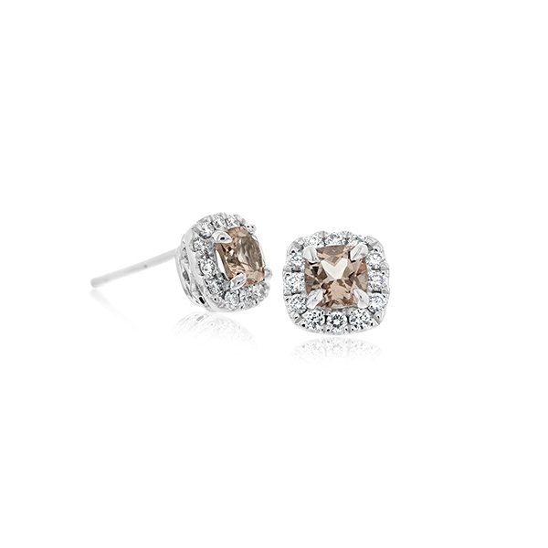 Morganite & Diamond Halo Earrings photo