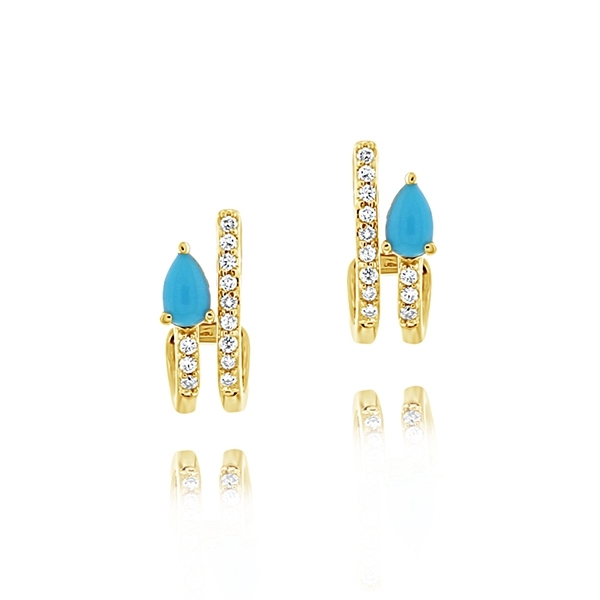 MY STORY Janet Turquoise & Diamond Earrings photo