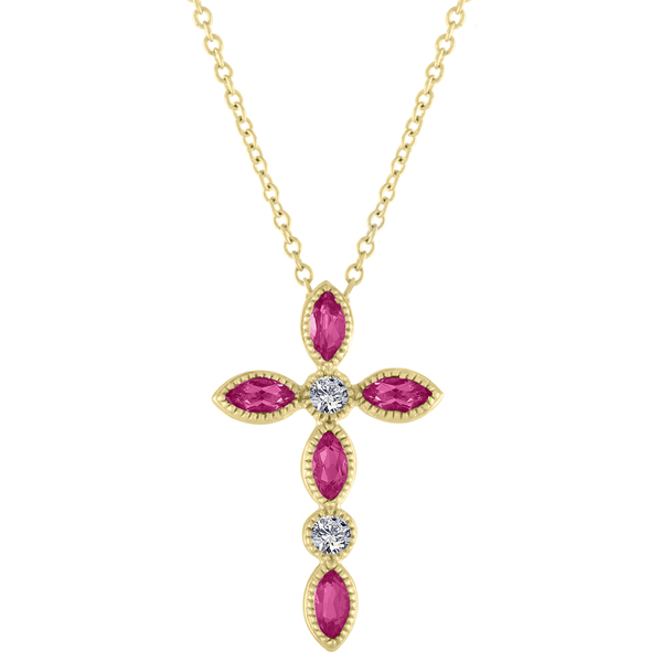 4a08ad3a4a53 MY STORY Ruby   Diamond Cross Pendant Necklace photo. 14K yellow gold ...