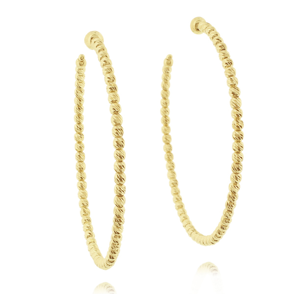 OFFICINA BERNARDI Silver & Yellow Gold Beaded Hoop Earrings photo