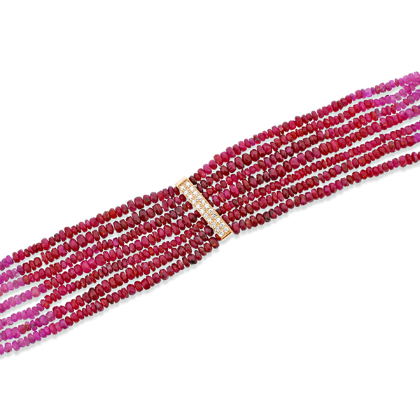 Ombre Ruby & Diamond Beaded Bracelet photo