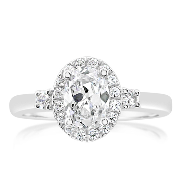 Oval Halo Diamond Engagement Ring photo