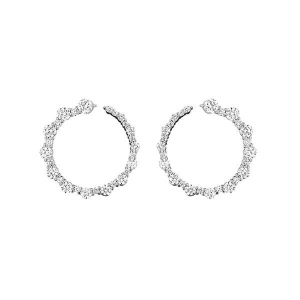 PENNY PREVILLE Diamond Front to Back Hoop Earrings photo