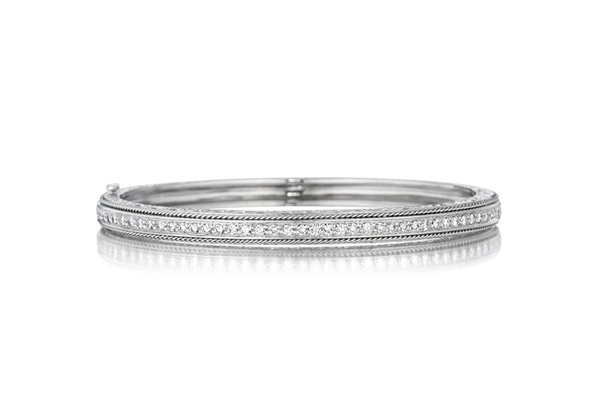 PENNY PREVILLE Engraved Diamond Bangle photo