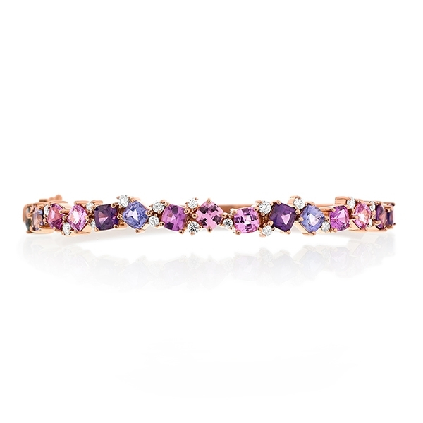 PENNY PREVILLE Rainbow Sapphire & Diamond Bangle photo