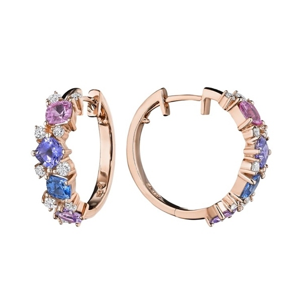 PENNY PREVILLE Watercolor Sapphire & Diamond Hoops photo