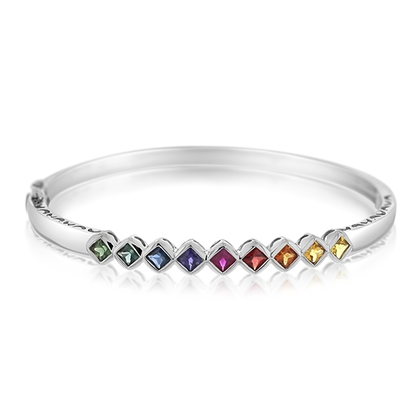Rainbow Sapphire Bangle Bracelet photo