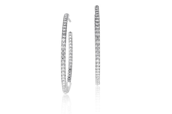 ROBERTO COIN 1.10 Carat Diamond Inside-Out Hoop Earrings photo
