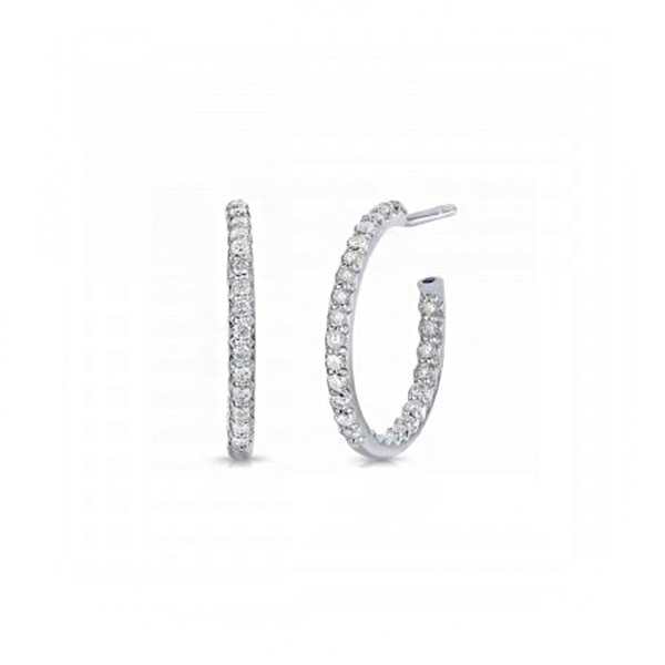 ROBERTO COIN .52 Carat Diamond Inside-Out Hoop Earrings photo