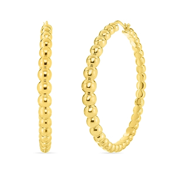 ROBERTO COIN Oro Classic Beaded Hoops photo