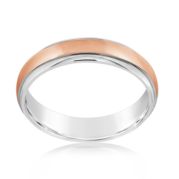 Rose & White Gold Comfort Fit Wedding Band photo