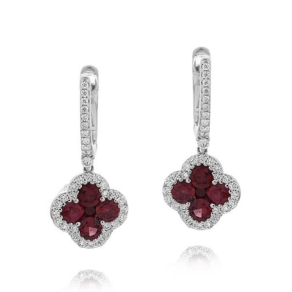 Ruby & Diamond Flower Dangle Earrings photo