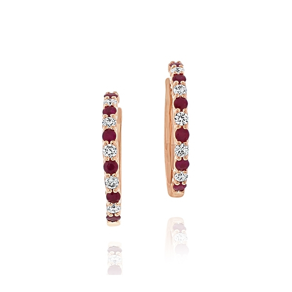 Ruby & Diamond Hoop Earrings photo