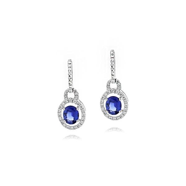 Sapphire & Diamond Drop Earrings photo
