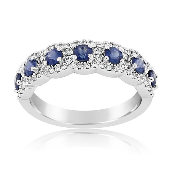 Sapphire & Diamond Halo Band photo