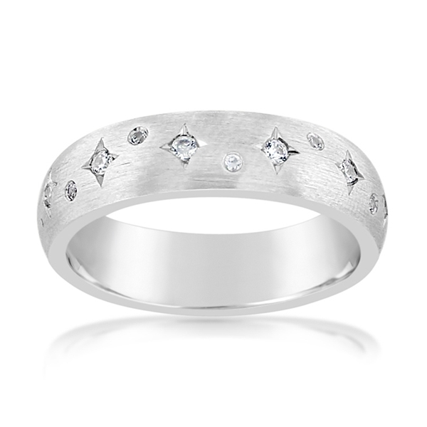 Satin Star Diamond Wedding Band photo