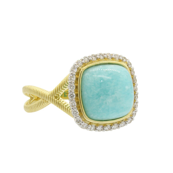 SLOANE STREET Amazonite & Diamond Ring photo