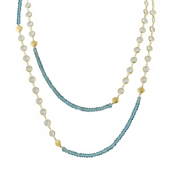 SLOANE STREET Apatite & White Topaz Necklace photo