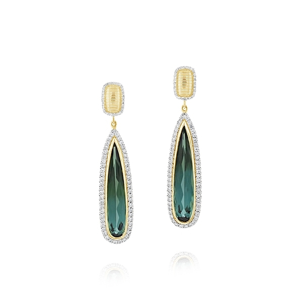 SLOANE STREET Green Tourmaline & Diamond Drop Earrings photo