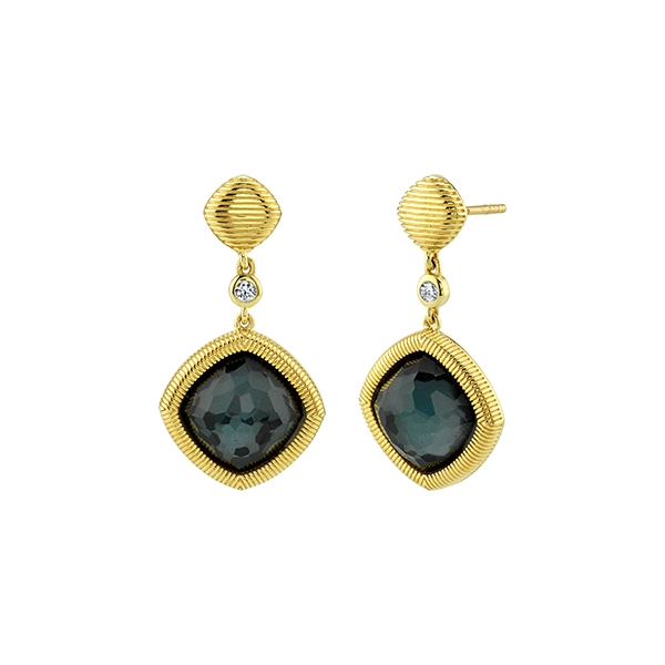 SLOANE STREET Hematite & Diamond Earrings photo