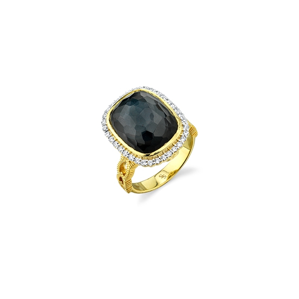 SLOANE STREET Hematite & Diamond Ring photo