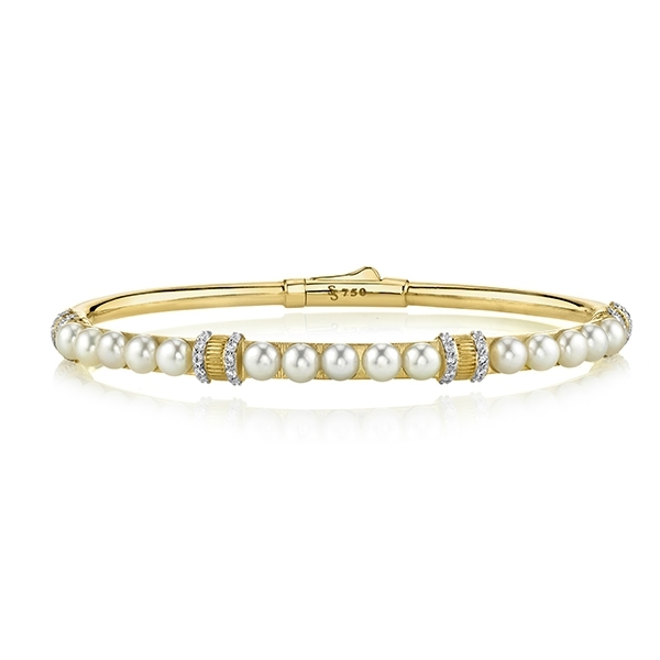 SLOANE STREET Pearl & Diamond Strie Bangle photo